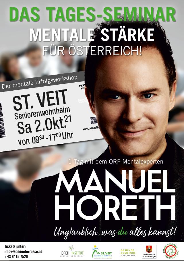 """Tagesseminar """"Mentale Stärke für Österreich"""" mit """"Mentalist"""" Manuel Horeth"""
